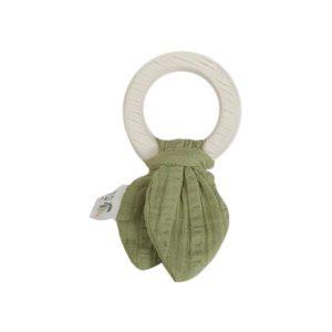 Tikiri Natural Rubber Teething Ring - Safari Green