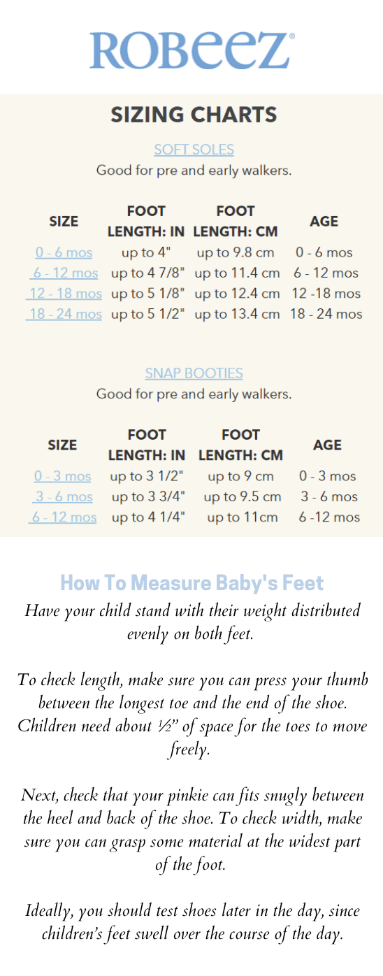 Robeez Soft Soles Booties Size Charts PeekaBoo Baby