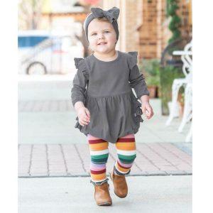RuffleButts Footless Ruffle Tights -Rainbow Stripe