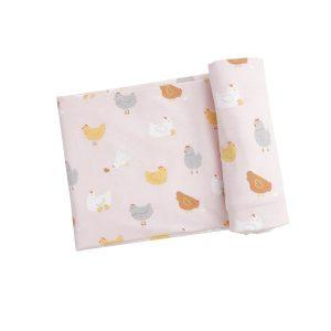 Angel Dear Chickens Swaddle Blanket - Pink