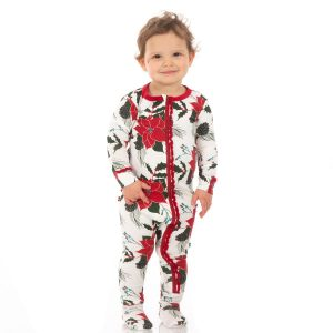 KicKee Pants Christmas Floral Print Muffin Ruffle Footie with Zipper