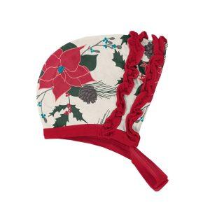 KicKee Pants Christmas Floral Print Ruffle Bonnet