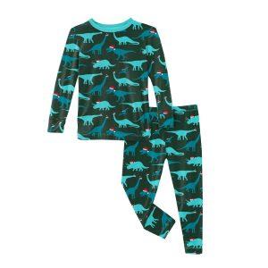 KicKee Pants Santa Dinos Print Long Sleeve Pajama Set