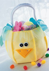 felt chick basket