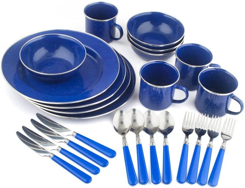 STANSPORT - Deluxe 24-Piece Enamel Tableware Set