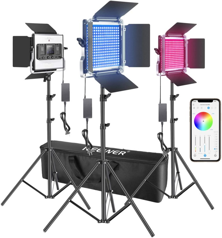 Neewer 3 Packs 660 RGB Led Light with APP Control, Photography Video Lighting Kit