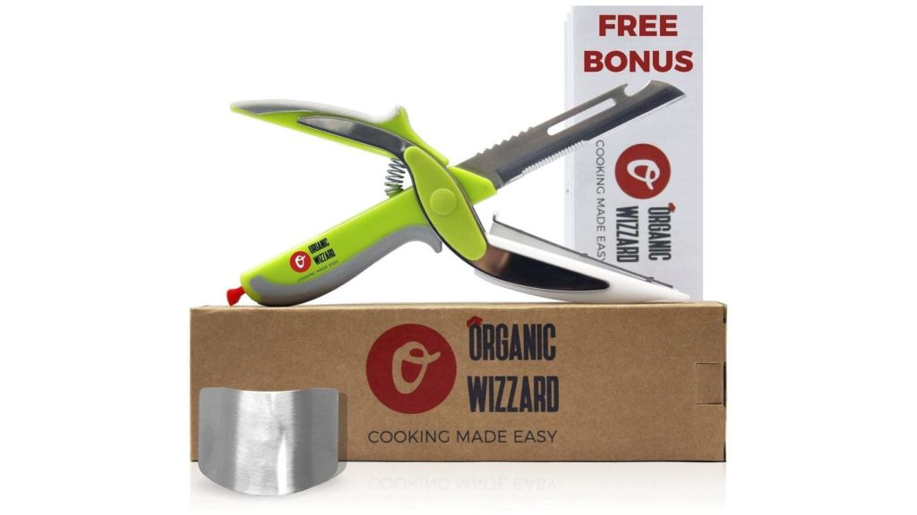 Organic Wizzard Kitchen Knife with Cutting Board and Finger Guard, 6 in 1 Universal Scissors Food Chopper, Slicer, Cutter, Dicer for Vegetables Fruits Meat and Cheese