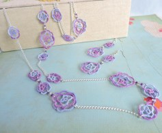 Lilac and Grape Lace Roses with Opaque Purple Toho and Silver Lined Beads