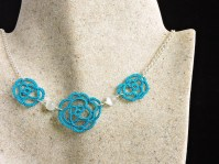 Ocean Teal Lace Rose Necklace with White Cats Eye Beads
