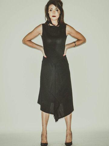 PENEL Black Linen Tea Length Evening Dress by Banteay Srey Boutique €102.09 http://bit.ly/1lOi4MT