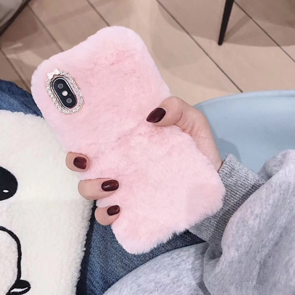 fluffy pink cover iphone