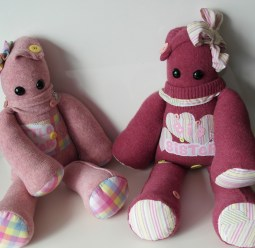 """2 Peerie Critters made for 2 sisters earlier this year usinig keepsake clothing ♥ © Peerie Critters 2014 """"Our girls got their Peerie Critters yesterday and they haven't put them down!!! They are perfect, thank you xxx ~ Catherine"""