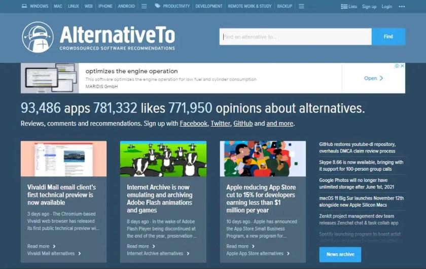 Screenshot of the AlternativeTo Software Review Website Homepage