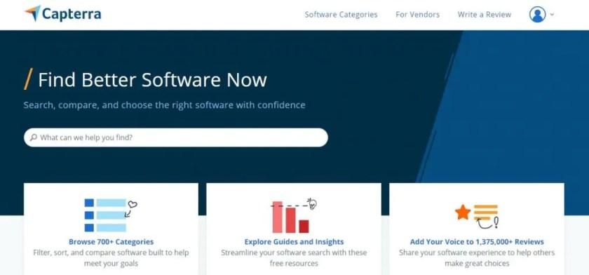 Screenshot of the Capterra Homepage