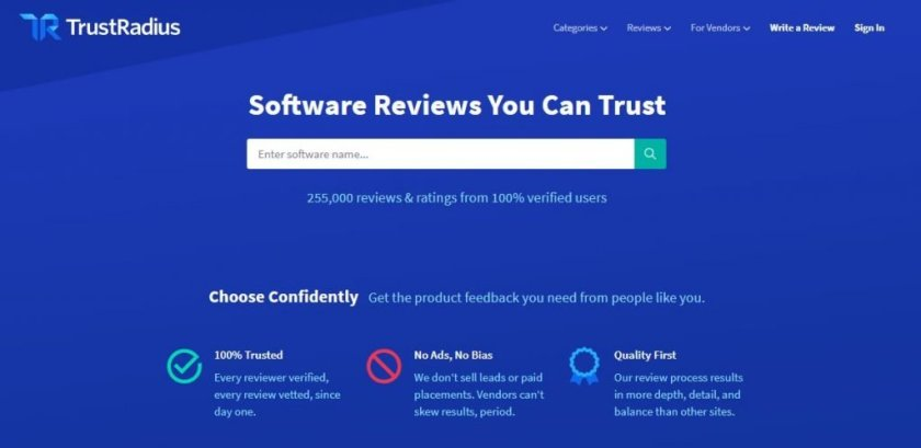 Screenshot of the TrustRadius Software Review Website Homepage