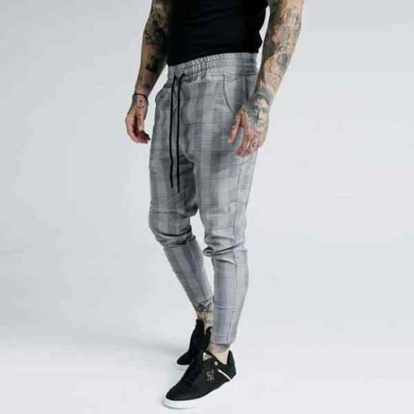 Pantalon skinny décontractés à carreaux pour hommes