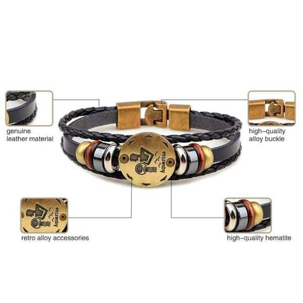 Bracelet en cuir hommes vintage horoscope