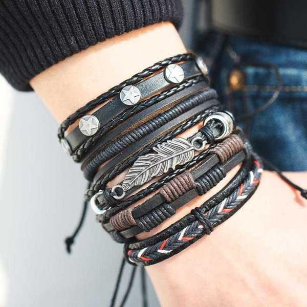 Ensemble bracelet vintage en cuir tressé à la main pour homme