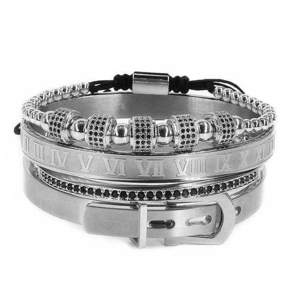 Ensemble de bracelet en acier pour homme