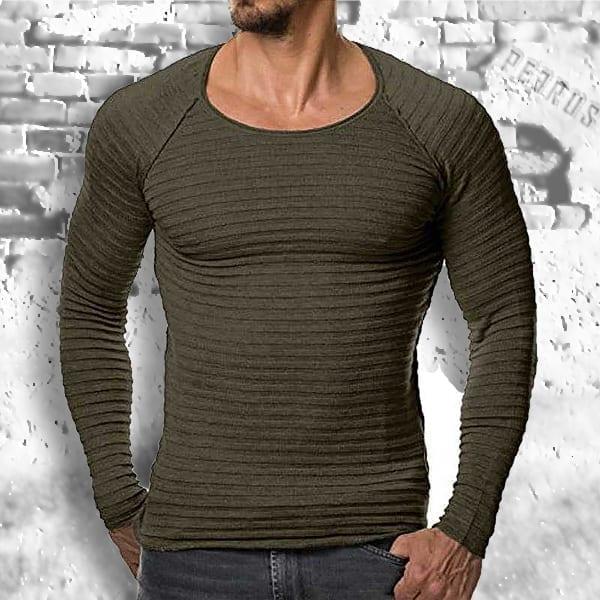 Pull chandail tricoté slim fit décontracté rayé o cou pour homme