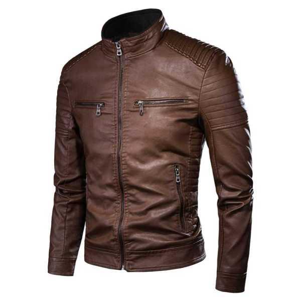 Men's mid-season leather jacket style biker