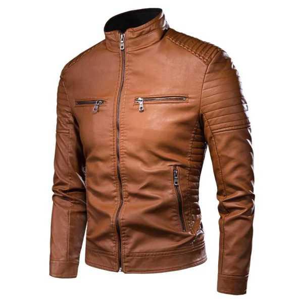 Veste en cuir mi-saison style motard vintage pour homme