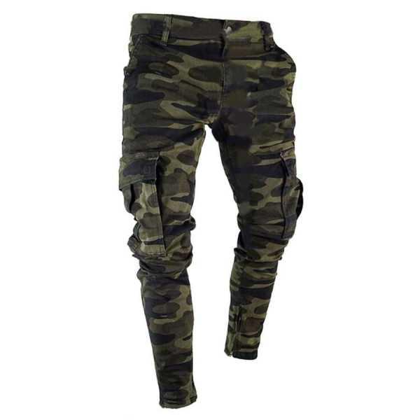Pantalon cargo denim jean coupe ajustée style camouflage
