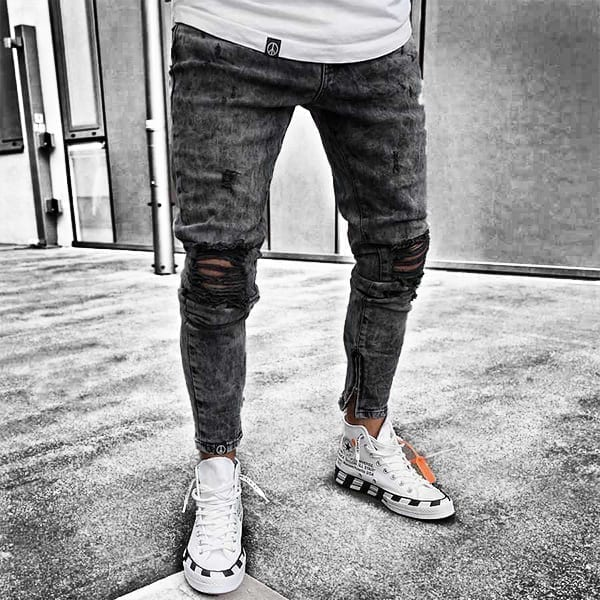 Modern design trousers in skinny stretch jeans for men