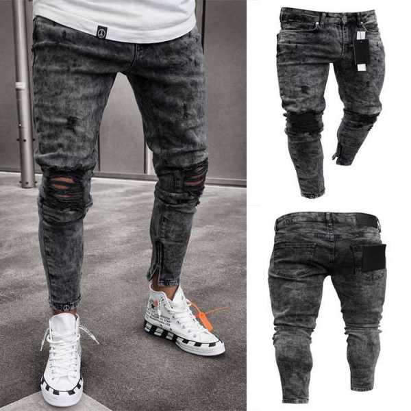 Pantalón de diseño moderno en jeans elásticos delgados para hombre