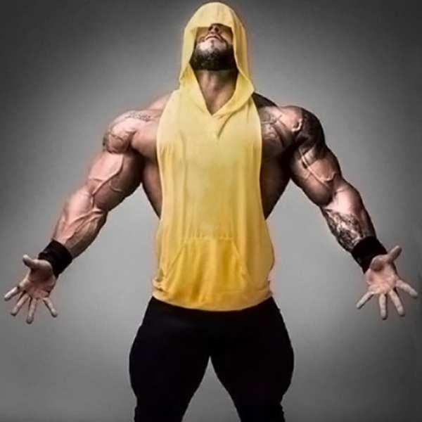 Hoodie sleeveless t-shirt with men's hood