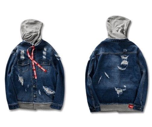 Men's hooded denim jacket