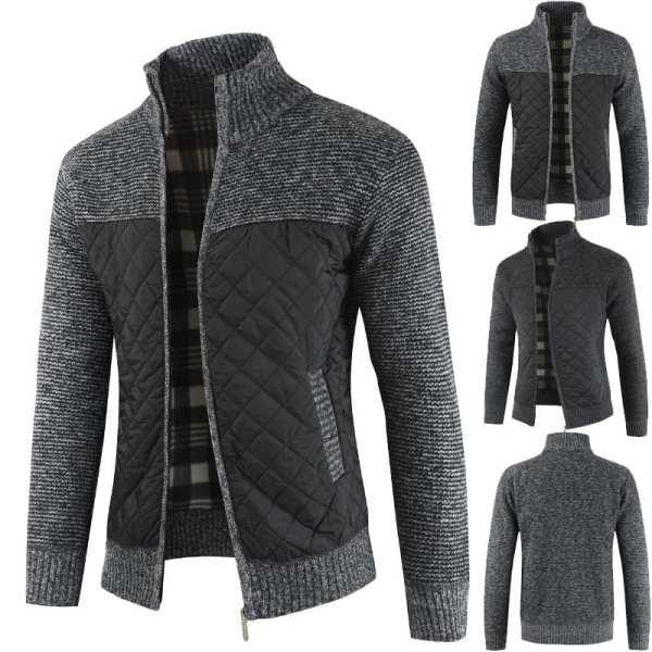 Men's knitted velvet cardigan-style jacket