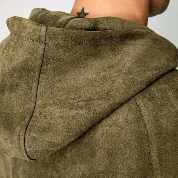 Clásico bombardero chaqueta con capucha de ante
