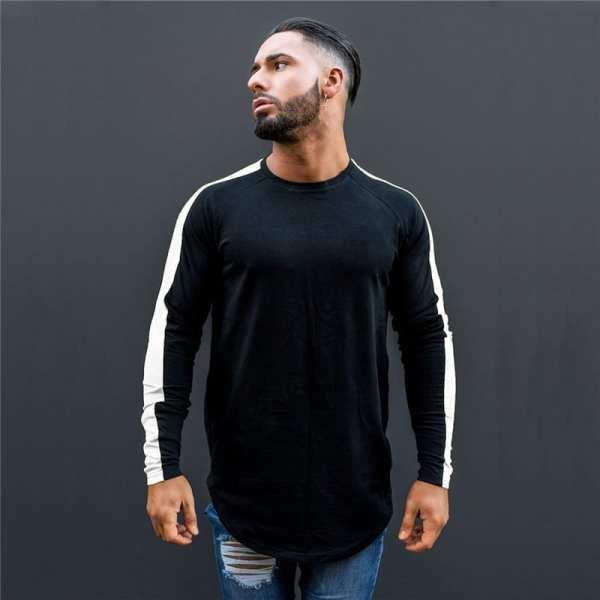 Men's streetwear-style long-sleeved T-shirt