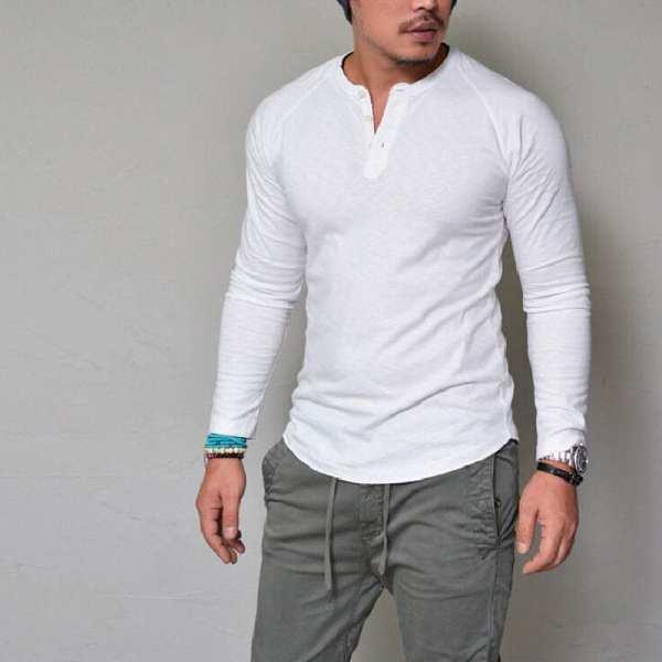 T-shirt élégant col rond manches longues pour hommes
