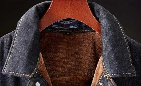 Veste denim jeans intérieur velours pour homme