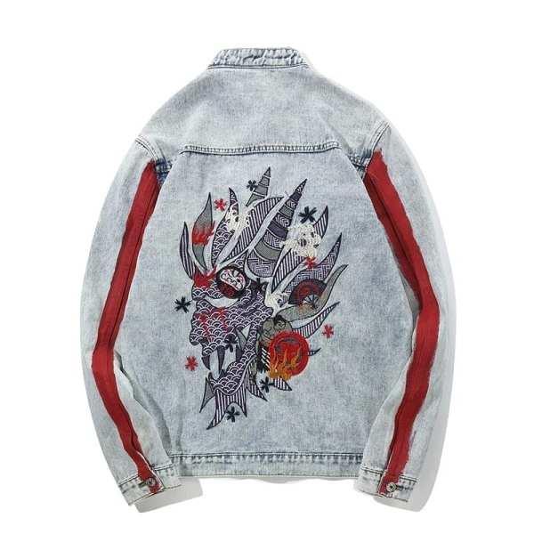 Men's washed-out denim embroidered denim coat