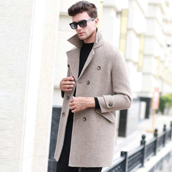 Abrigo de lana de doble botón de longitud media