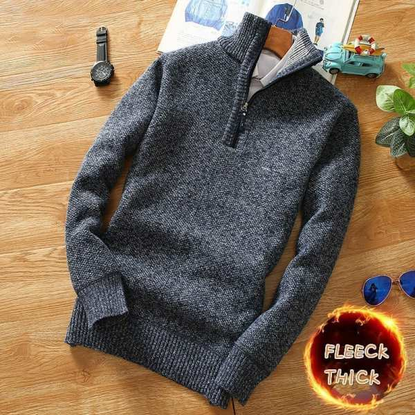 High-necked and zippered sweater