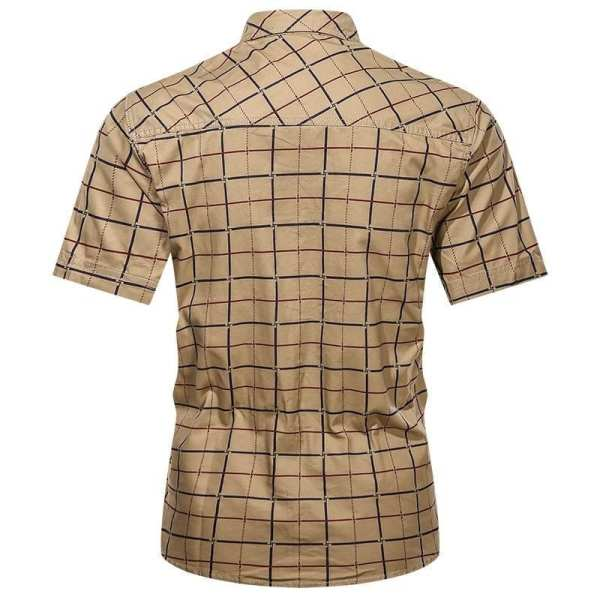 Clásica camisa a cuadros de manga corta para hombre