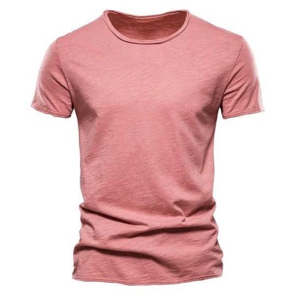 T-shirt col rond couleur unie pastel pour hommes