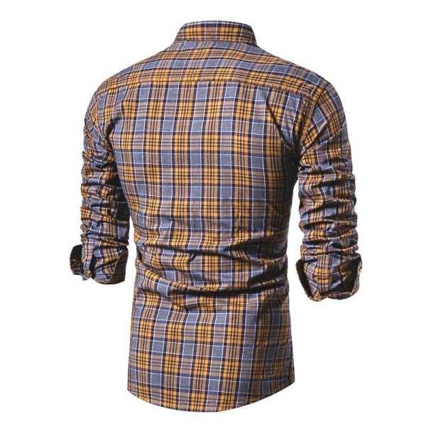 Camisa casual de manga larga de franela para hombre