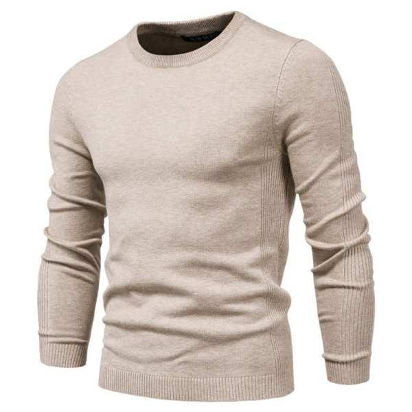 Suéter casual de manga larga de cuello redondo para hombre