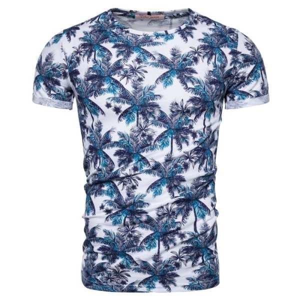 T-shirt moulant imprimé col rond hommes