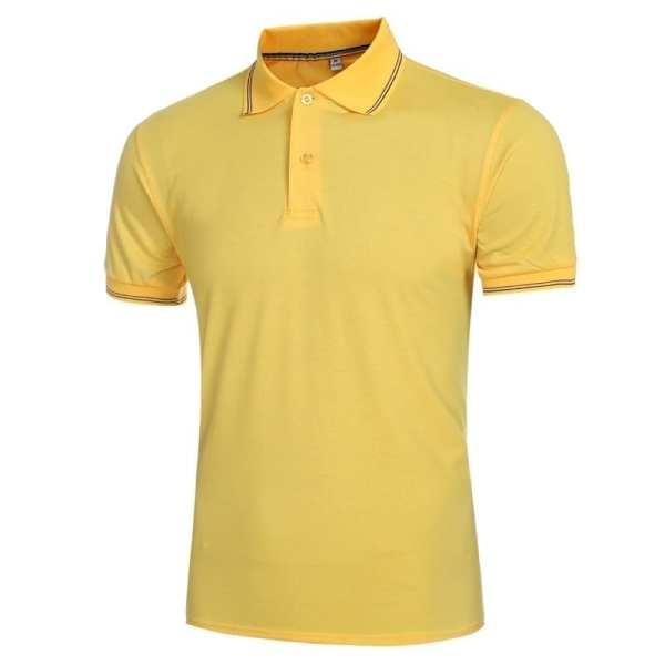 Polo amarillo de manga corta para hombre