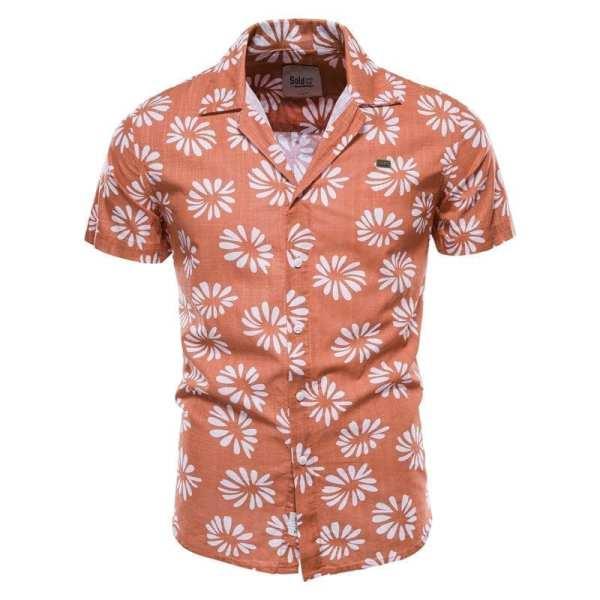 Camisa con estampado floral de manga corta para hombre