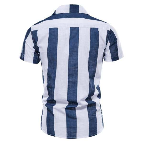 Men's linen and cotton striped cotton short sleeves