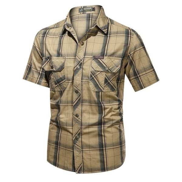 Clásica camisa de franela de manga corta para hombre