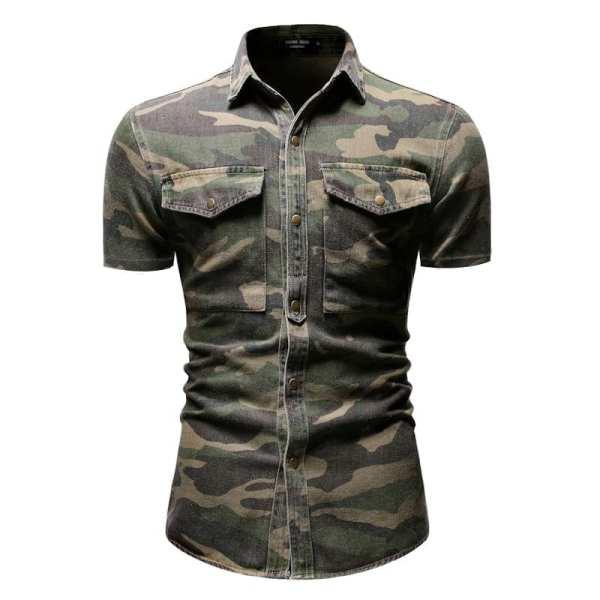 Jean camisa de mezclilla camuflaje mangas cortas hombres