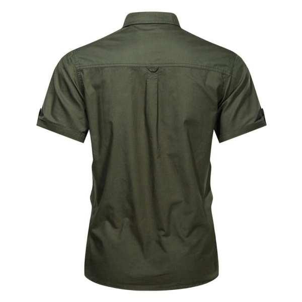 Camisa de estilo militar de manga corta para hombre